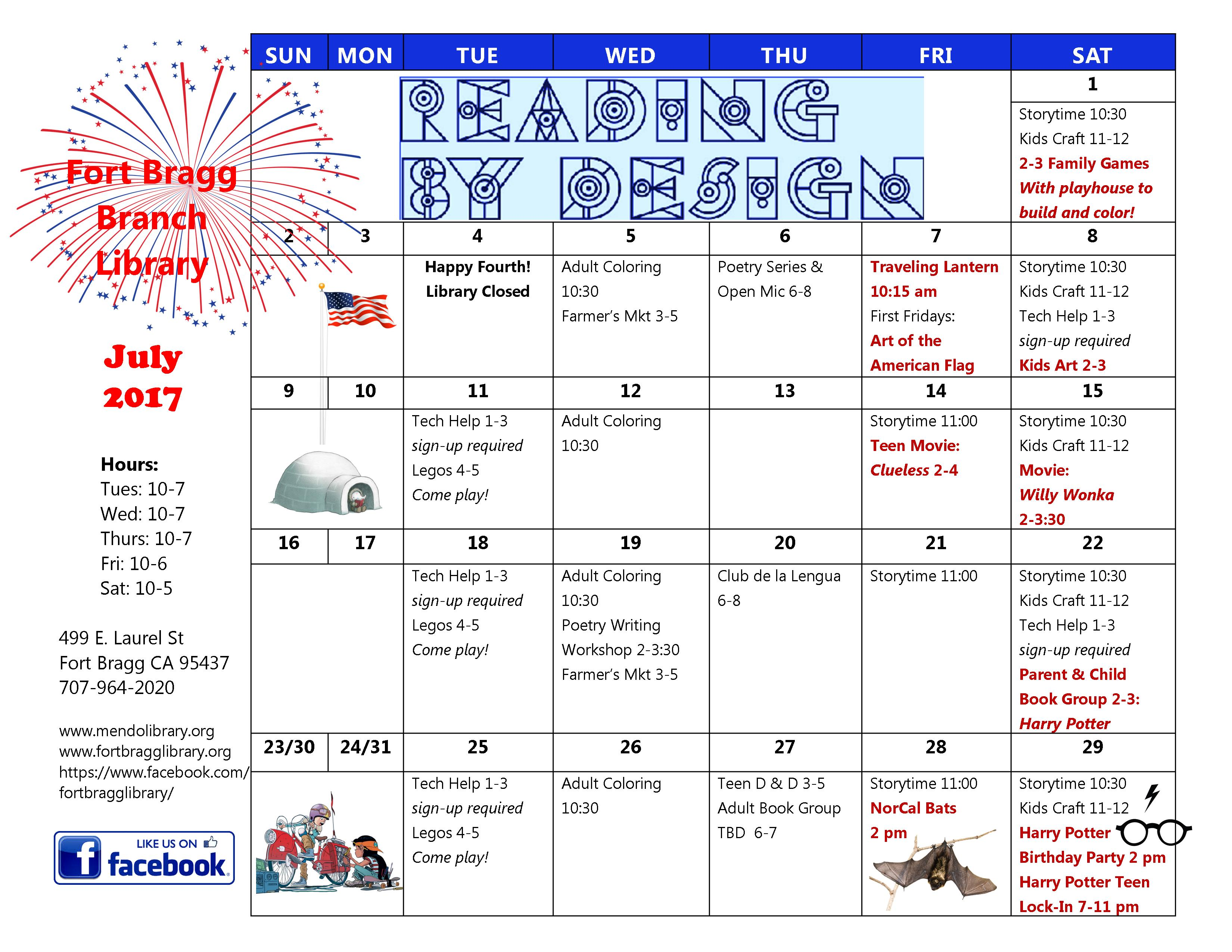 fun things July calendar
