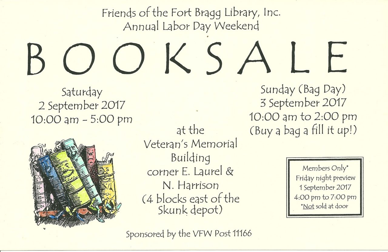 Annual Friends of the Fort Bragg Library Book Sale