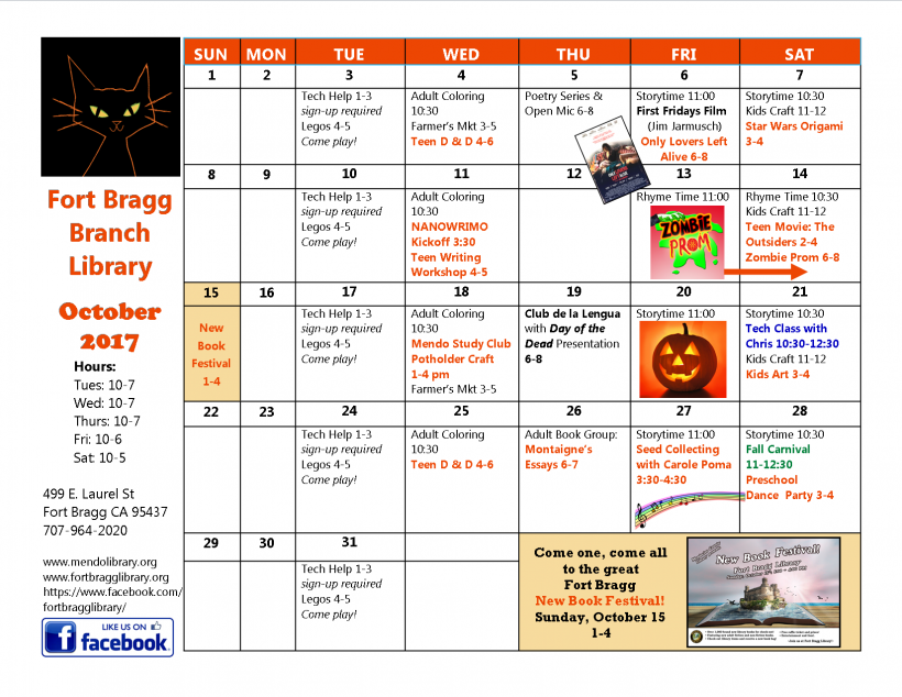 October Events Calendar