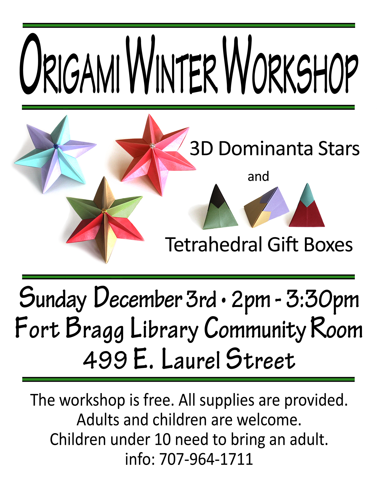2017 winter origami workshop fort bragg library