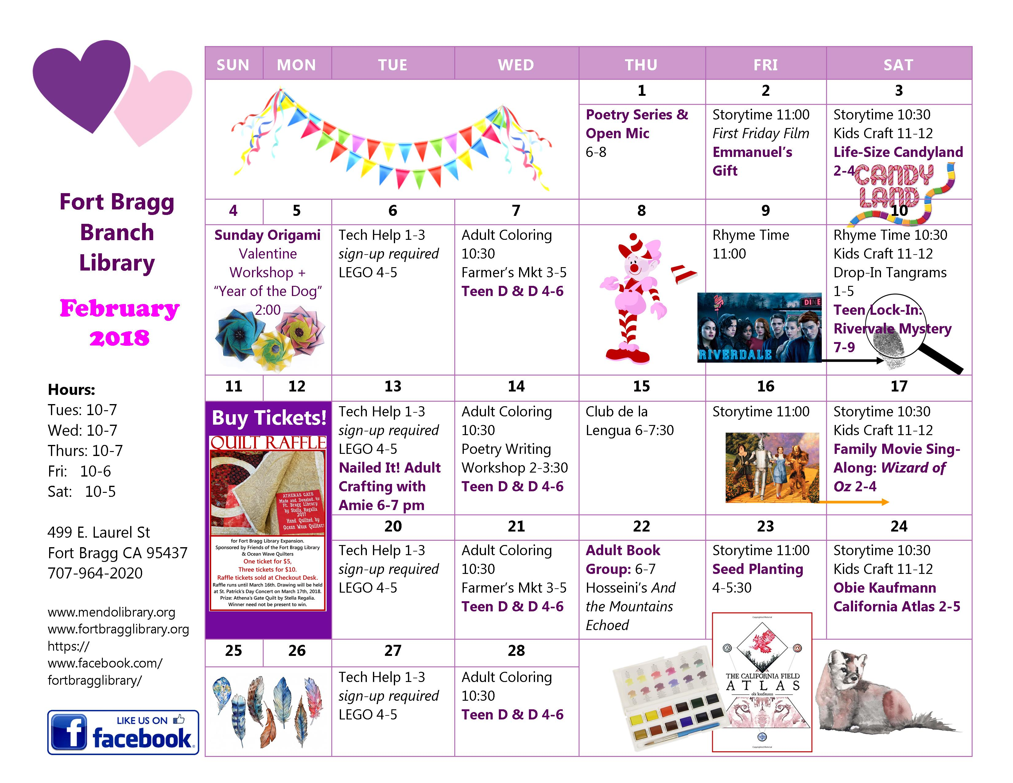 6108f9bbfa2 February 2018 Calendar of Events - Fort Bragg Library