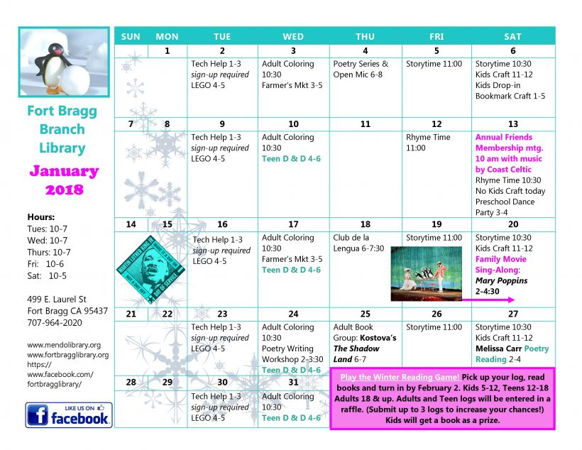 January Calendar Fort Bragg Library