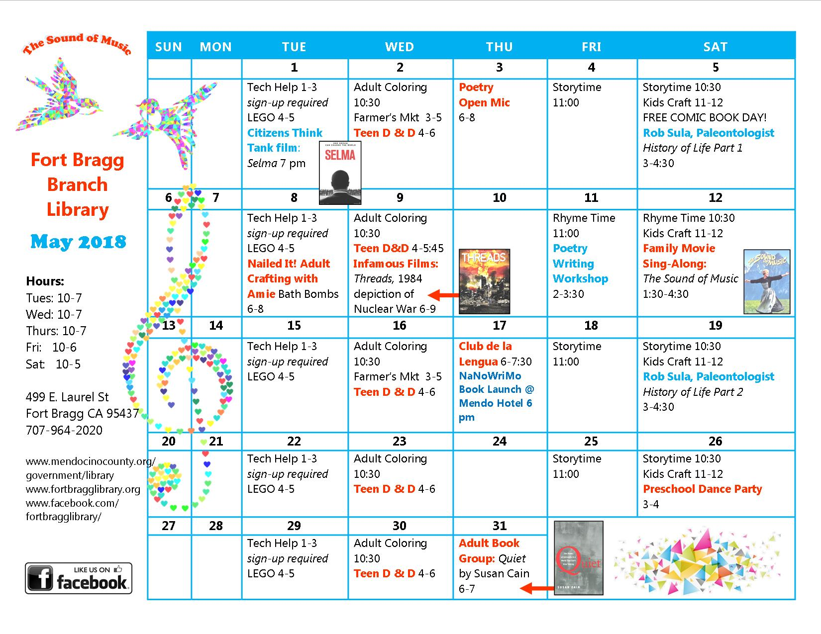 Calendar Of Events : May calendar of events fort bragg library