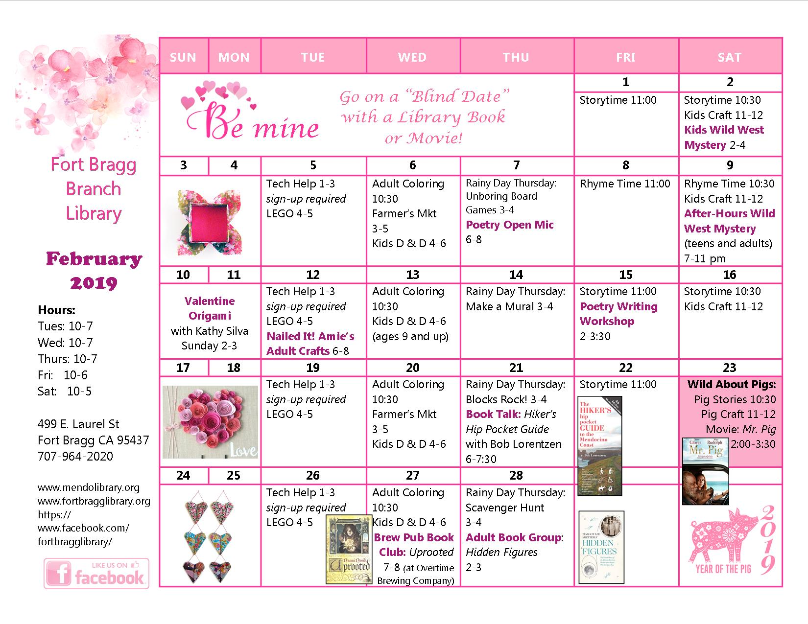 February Calendar 2019.2019 February Calendar Of Events Fort Bragg Library