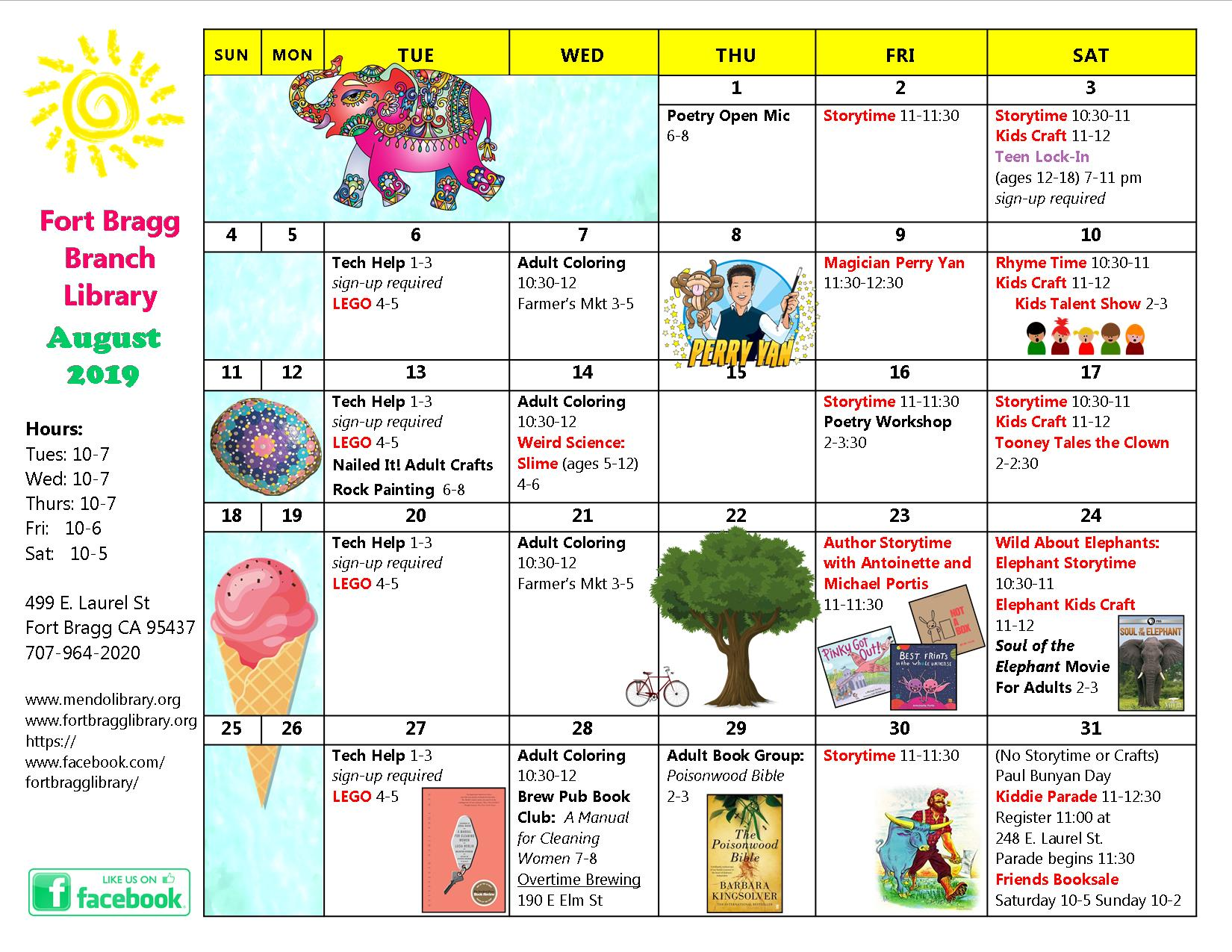 August Calendar of Events - Fort Bragg Library