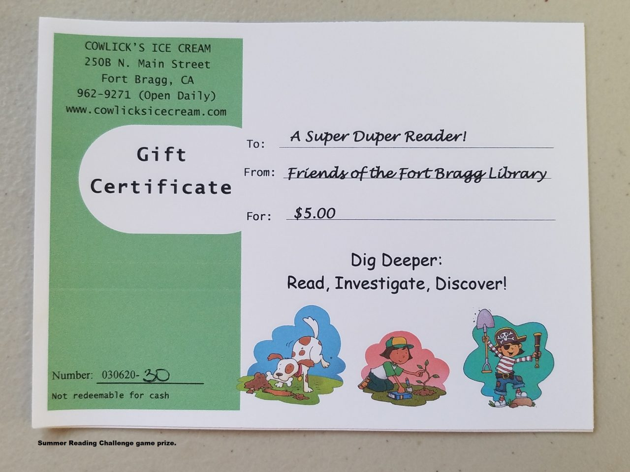 Summer Reading Challenge game prize.